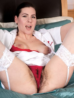 Sharlyn is one of those naughty nurses that you always hear about but never get to see. Luckily, she not only has the uniform but an amazing all natural hairy pussy that is a wonder to behold.
