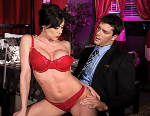 Lustful brunette is taking off her red lingerie and fucking wildly with the rich man in his bedroom. She is getting paid for showing her fuck skills.