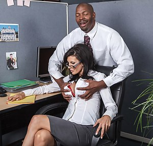 She's all flirty with that dude 'cause she knows he probably has a massive cock. No surprises there and she gets her pussy drilled raw.