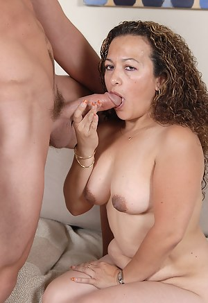 Mature Sunshine takes a young mans cock deen inside her