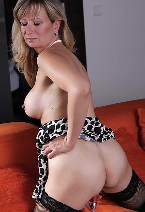 Blonde housewife getting herself wet and horny