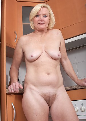 Hairy pussied housewife Sabine showing off her 49 year old body