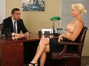 Thick blonde decides to take their business relationships to the next level by letting this dude destroy her soaking wet pussy on a desk.