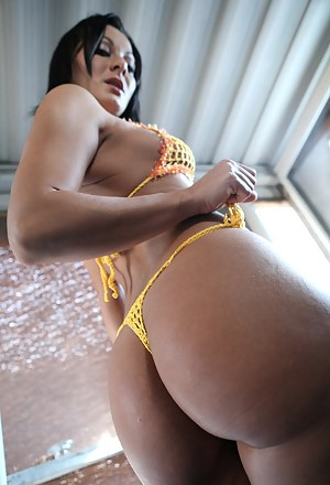 Hardcore ass fucking and ball licking session from a tremendous bikini model Sandra Romain and her fascinating lover with an enormous dagger.