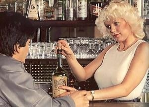 Horny blonde retro bar lady gets fucked hard on the bar