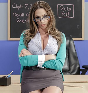 Handsome actor is fucking the busty teacher wearing sexy blue lingerie and the short skirt. He is torturing her sweet holes with his thick cock.