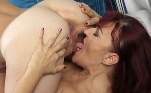 Lesbian grannies Natalia and Tina eating pussy.