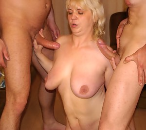 These filthy mature sluts get banged by the kinky gang