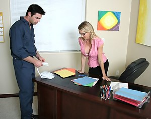 She's flirty and cheerful, she looks just like that kinda girl to fuck big-dicked janitors in her own office. Enjoy this amazing scene!