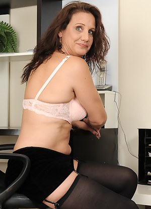 At 43 years old horny Chane can't keep her legs together at her desk