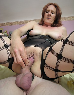 Horny red mature sucking and fucking