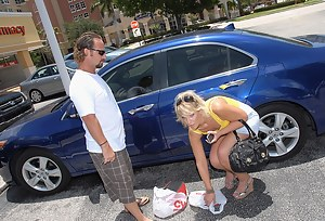 This babe is in a strong need of a car, and the man can help her. However, he wants to get a little payback. So, she is sucking and fucking with him now.