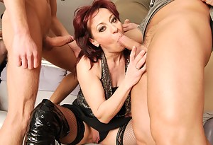 eight dudes and two horny mature cocksucking sluts
