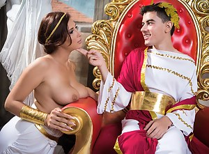 Watch the strong king banging the slutty queen with big boobs and ass. They are both feeling great fucking passionately on the throne.