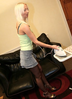 Tracey may have to do the household chores.However,ironing takes on a whole new perspective when she is being banged by