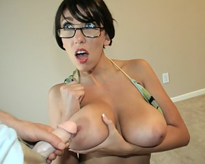 insane big boob neighbor Mrs. Janine takes care of Billy as she talks dirty and spit shines his massive cock
