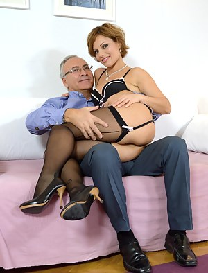 Sylvia is hungry for cock. Jim's cock. So he pops his out