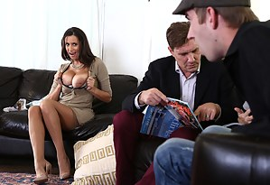 Stacked brunette is serving food, and the guy is shocked by the size of her tits. When he drops his pants, it's her time to stare in shock.