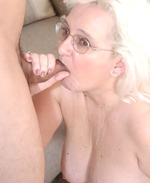 Horny granny taking the cock deep in her mouth