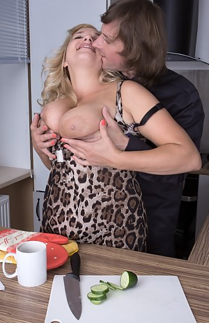 When hairy chef Lariona gets paid, she gets paid in hard dick. She enjoys her employer coming home and sampling her food and stripping her for a snack. They enjoy hardcore sex in the kitchen.