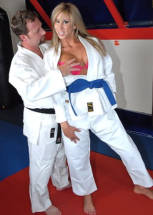 This woman is extremely dangerous as she is practicing karate. But her new friend is not afraid of her as he can fuck her hard with his aggregate.