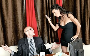 Double J, Jessica Jaymes, is on fire today. She gets her tight, leaking pussy fucked sideways on a desk and we love watching her.