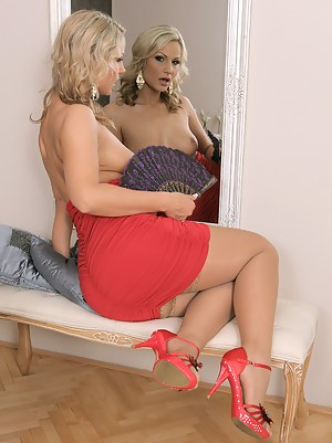 Blonde Holly B with her fan