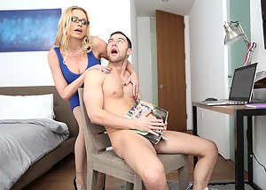 Strong man is jerking his penis being absolutely naked when this slutty MILF comes into the room. She is enjoying wild sex with pleasure.