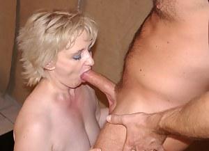 Horny mature blonde slut fucking and sucking
