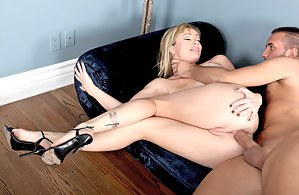 Empty office can be a great place for having wild ass fucking. Watch the adorable blonde getting presented with extremely rough anal sex.