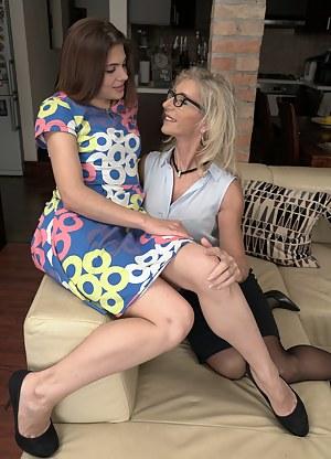 Two beautiful lesbians having fun