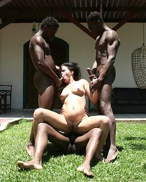Horny mature slut fucked bu three black men