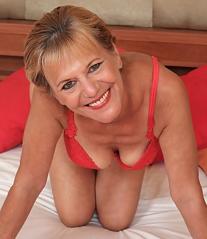 Lili from AllOver30spreads mature pussy and shows off her red lingerie