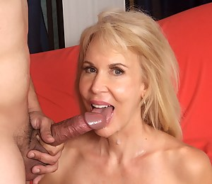 Mature blonde woman and a young guy have oral sex before she gets her fucked deep