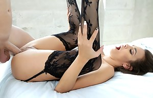 Enjoy watching sweet brunette having wild sex with her man. She is riding his boner and sucking this aggregate deep to get facial.