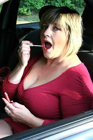 Big breasted mature Monieka gets naughty outside