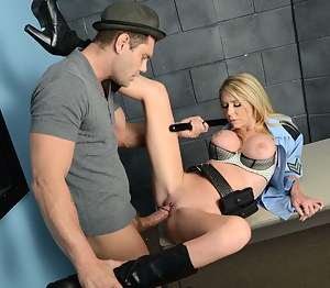 Nothing can be better for this criminal than being punished by the slutty police woman. She is playing with his massive boner with excitement.