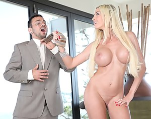 Excellent cutie with big fake tits takes part in a splendid femdom session during which she is seducing a gorgeous man and fucks him.