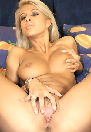 Sensational blonde loves showing her big tits on camera. She is practicing awesome striptease and enjoying sensual solo with pleasure.
