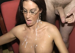 The amazing Emma Butt is a great fan of cock, fucking and spunk, and a great favourite of ours! Check out this English pornstar super-slut as she demolishes a bunch of horny guys, until they cream and spunk over her glasses, sexy face and massive tits
