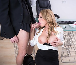 To seal the deal, her boss offers his new business buddy to fuck a secretary. This minx looks stunning and especially her amazing blue eyes.