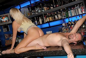 This lady is a very bad bartender. She is drinking alcohol and flashing her big tits in the public place. She must be punished extremely hard.