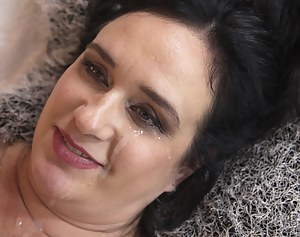 Naughty chubby housewife with big tits playing with her toy boy