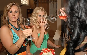 Meet these filthy ladies drinking wine in the kitchen. They are ready to take off their sexy clothes and to enjoy passionate lesbian closeness.