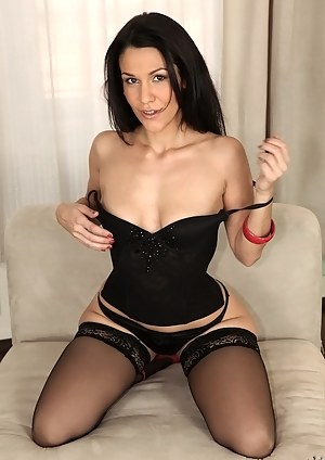 Couple of guys is what this awesome lady wearing sexy black stockings wants right now. She is getting presented with wild double penetration.
