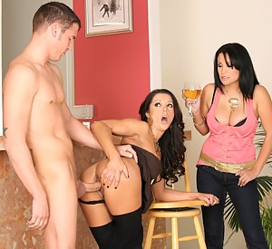 Brunette ladies Francesca Le and Sophia Lomeli do everything they can to get that lucky fellow hard and ready for a great fucking session.
