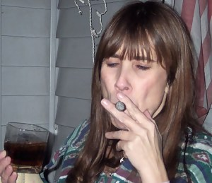 its party time, and hubby got mea cigar and i had alot of fun smoking it. i had a few drinks as well and ended upshowing