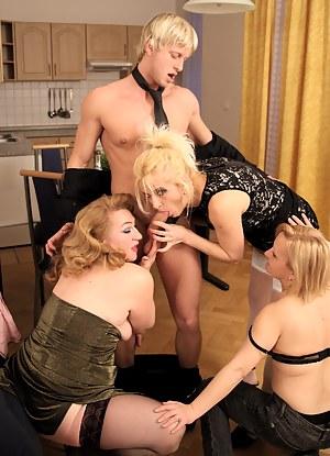 Blonde dude fucking three mature sluts
