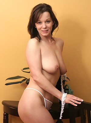 Gorgeous Samantha in white lacey panties spreads wide