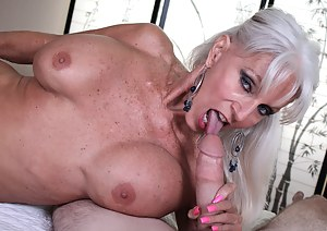 Sally is horny as fuck and suck off her granddaughters new boyfriend for fun.